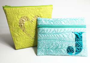 Zippered Pocket with Deco Foil and quilting in the hoop